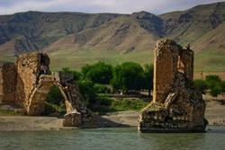 The ancient bridge over the Tirgis river in Hasankeyf, Turkey
