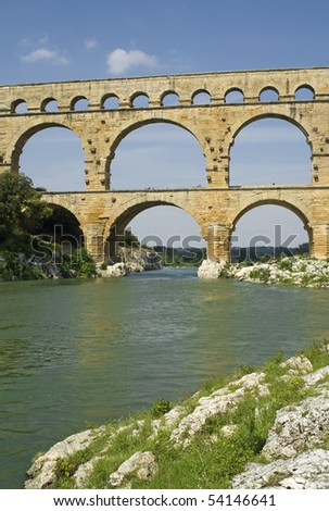 "The ancient bridge ""Pont du Gard"" in South France"
