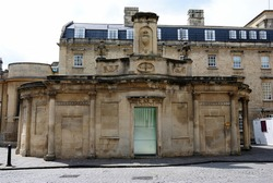 The ancient building of the Cross Bath rebuilt in the 18th century on Bath Street, Bath, Somerset, England