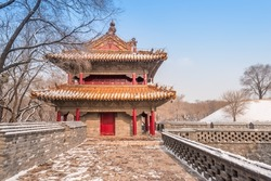 The ancient buildings of Qing Zhaoling Mausoleum in Shenyang, Liaoning province, China, after winter snow.