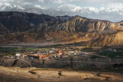 The ancient capital of the Upper Mustang, the city of Lo Mantang at sunset. Nepal