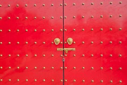 The ancient Chinese red doors.