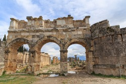 The Ancient city and Ruins of Hierapolis above the Cotton Castle in Pamukkale in Aegean Turkey.