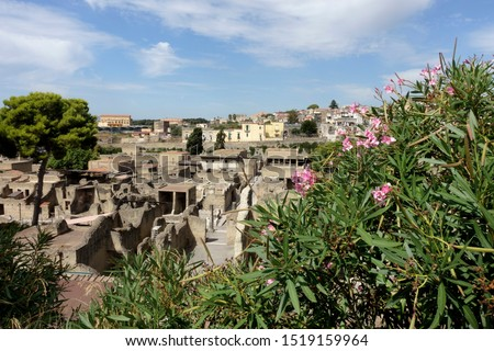 The Ancient City of Herculaneum, Campania, Italy with at the background the modern city. The old city is an UNESCO World Heritage Site