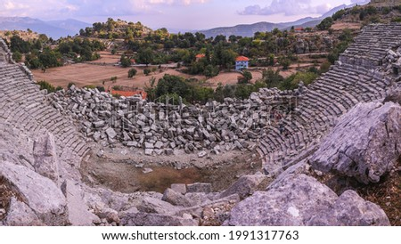 The ancient city of Selge (Selge Antik Kenti), magnificent view and ancient theatre ruins in Antalya Turkey. Stock fotó ©