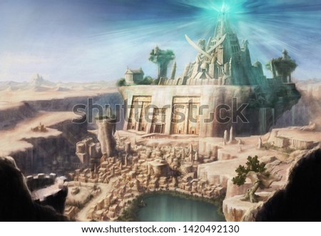 the ancient cityscape of the desert
