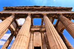 The ancient greek temple of Hephaestus in the ancient Agora in Athens, Greece