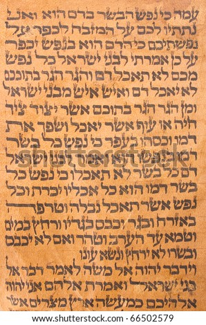 The ancient Jewish scrolls of the Torah fragment. Piece of text may be used as background.