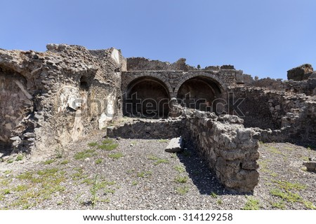 The ancient kitchen in Pompeii city