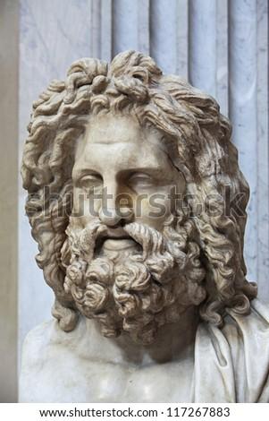 The ancient marble portrait bust of Zeus Otricoli