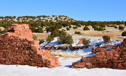 the ancient mission san gregorio de abo ruins in the salinas pueblo missions national monument on a sunny winter day near mountainair, new mexico