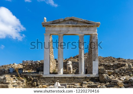 The ancient monuments and ruins on the sacred island of Delos, Greece. The birth place of god Apollo.  #1220270416