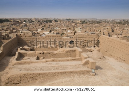 The ancient Narin Qal'eh (Qaleh) clay castle in the centre of Meybod near Yazd in Iran is one of the best preserved mud-brick fortresses