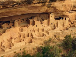 the ancient native american cliff dwelling of cliff palace in summer in mesa verde national park, near cortez, colorado