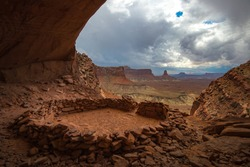 The Ancient of Utah, False Kiva Ruins - Canyonlands is a human-made stone circle created by the Anasazi. While located in a naturally occurring cave