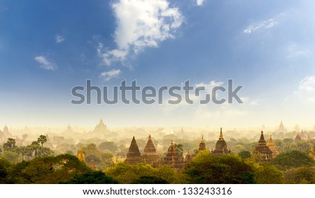 The ancient pagodas covered by dust storm in Bagan Myanmar