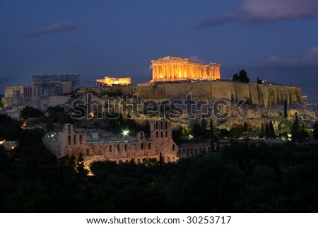 The ancient Parthenon atop the Acropolis in Athens, Greece