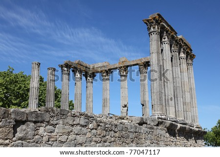 The ancient remains of the Roman Temple of Evora (referred to as the Temple of Diana.)  This Corinthian style temple has become the iconic landmark in the Portuguese City of Evora.