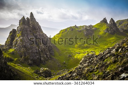 The ancient rocks of Old Man of Storr on a cloudy day - Isle of Skye, Scotland, UK #361264034
