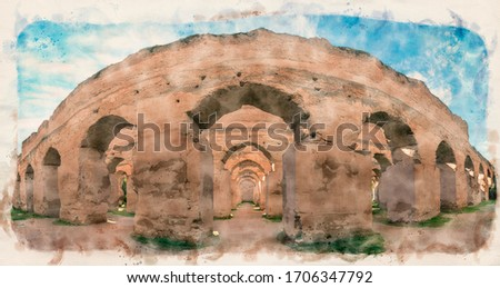 The Ancient ruined arches of the Royal Stables and Granaries of Moulay Ismail in the Imperial City of Meknes, Morocco. Watercolor sketch painting. Retro style postcard.