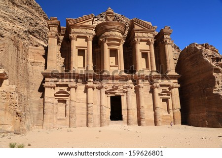 The ancient ruins at Petra, Jordan, and the monastery building, which is just huge