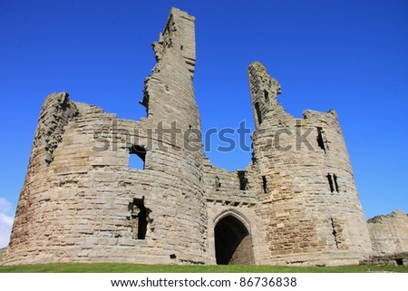 The ancient ruins of Dunstanburgh Castle, Northumberland, United Kingdom