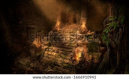 The ancient ruins of the temple in the jungle, lit by the rays of the sun, an old stone covered with roots and moss, along the stairs leading to the entrance fire burns. 2d illustration. Photo stock ©
