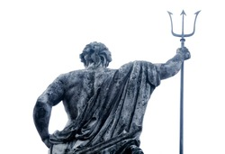 The ancient statue of god of seas and oceans Neptune (Poseidon) as symbol of power and strenght