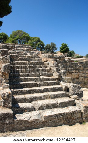 The ancient stone steps down into the marketplace, or agora, in the Minoan city of Phaistos (Festos) on Crete.