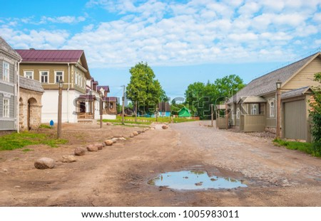 The ancient street of the ancient Russian city of Izborsk