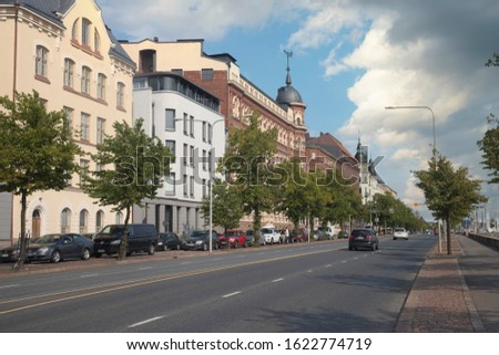 the ancient streets of Helsinki. City center.