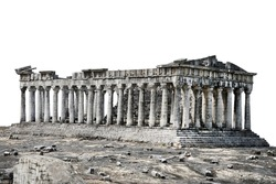 The ancient temple is a building of ancient Greek architecture. Temple or building ruins. Broken Classic Ancient Building isolated on white background with clipping path.