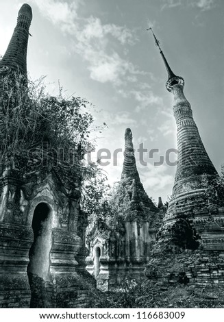 the ancient temples of Indein in Myanmar look magical