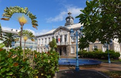 The ancient town hall of Fort-de-France . Fort de France is the capital of Martinique island, Lesser Antilles