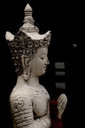 The ancient white Buddha statue that acts as a panther