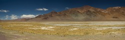 The Andes mountain range. Panorama view of the brown mountains, yellow grass and valley, under a deep blue sky.