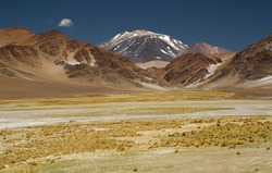 The Andes mountain range. Panorama view of the yellow meadow, brown mountains, golden valley and Volcano Incahuasi, under a deep blue sky.