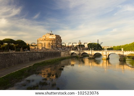 The Angel Castle at sunset, Rome, Italy