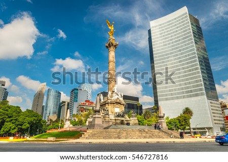 The Angel of Independence stands in the center of a roundabout in Mexico City, Mexico. #546727816