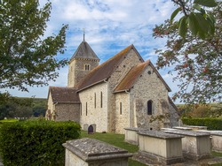 The Anglo Saxon flint church of St Andrews at Bishopstone, East Sussex, Southern England