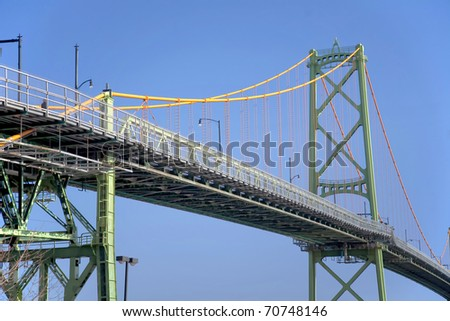 The Angus L Macdonald suspension bridge over Halifax Harbour linking Dartmouth and the city of Halifax in Nova Scotia, Canada. Stock fotó ©