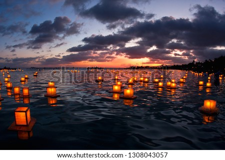 The annual Lantern Floating Memorial Day celebration event at Magic Island, Oahu, Hawaii.
