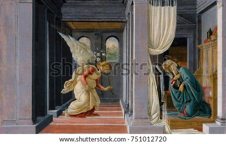 THE ANNUNCIATION, by Botticelli, 1485-92, Italian Renaissance painting, tempera, gold on wood. The Annunciation takes place in classical architecture interior delineated with one-point perspective