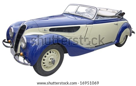 The antiquarian sport-car isolated over white with clipping path. - stock photo