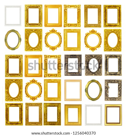The antique gold frame isolated on the white background. #1256040370