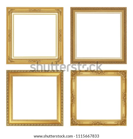 The antique gold frame isolated on white background with clipping path #1115667833