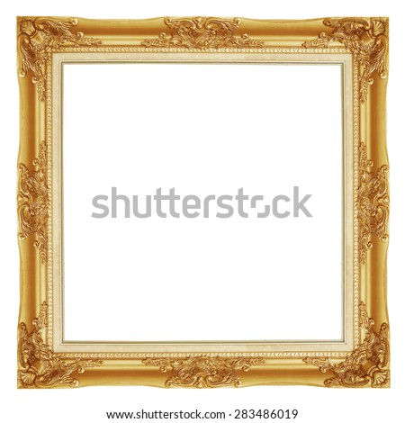 The antique gold frame on the white background #283486019