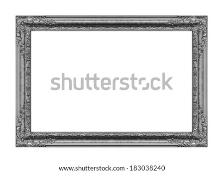 The antique gray frame on the white background