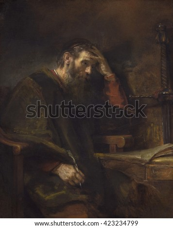 The Apostle Paul, by Rembrandt van Rijn, c. 1657, Dutch painting, oil on canvas. Meditative Paul at a table in his prison cell, holding a writing quill. Pertinent to the Protestant Dutch Republic, Pa Stock fotó ©
