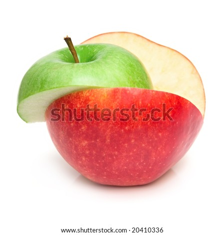 The apples cut on a part on the white
